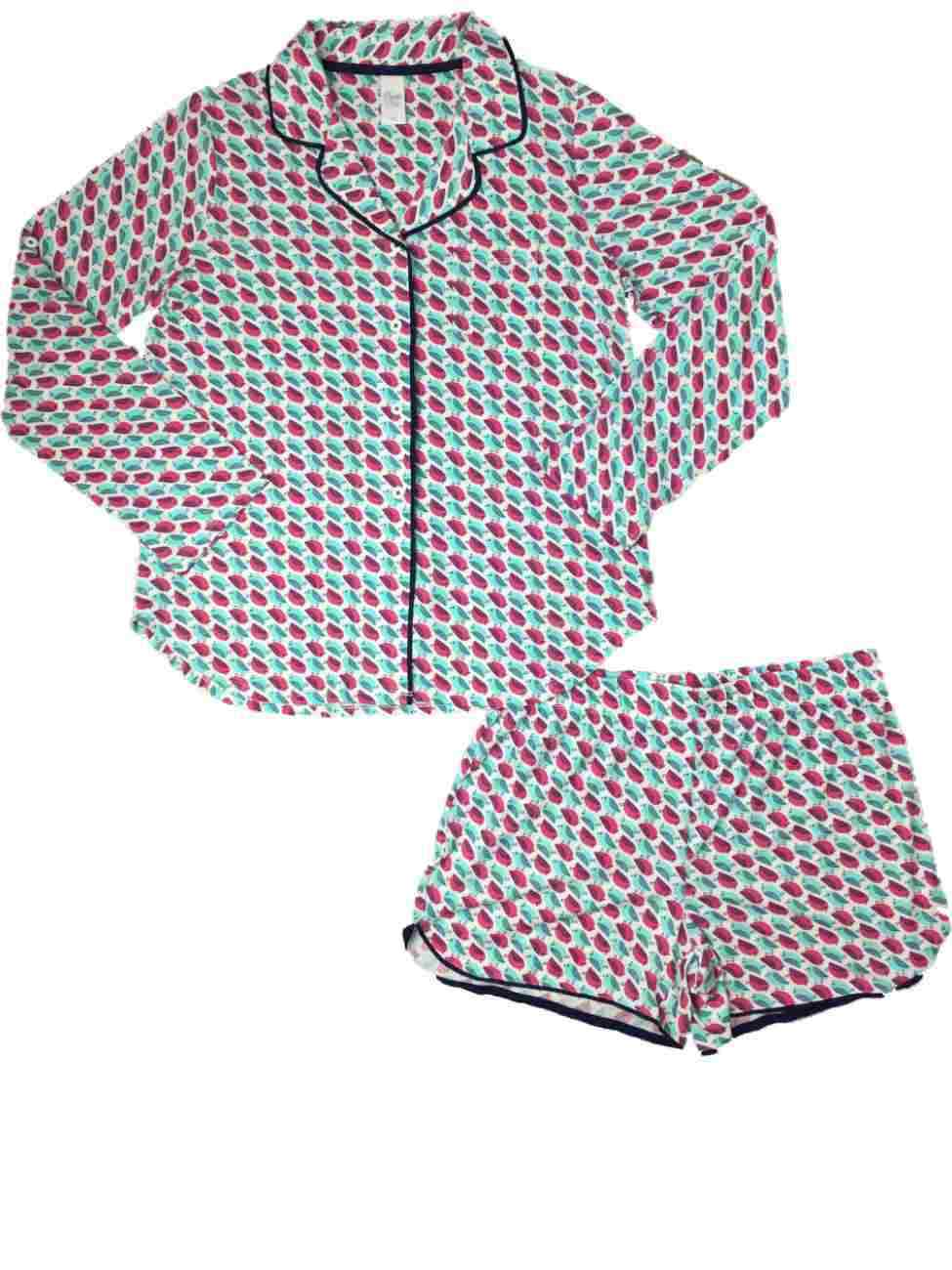 Womens Pink bluee & White Bird Pajamas Lightweight Birdie Short Sleep Set