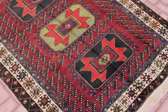 5'x9.8' Vintage Turkish Oushak Handmade Maroon Wool Wool Wool Rug fb129e