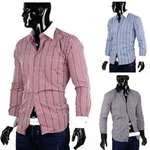 Verifie-slim-pour-hommes-a-manches-longues-T-shirt-moulant-karriert-Plaid-elegan