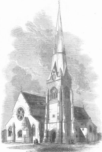 LONDON. The new Church of St Mary, at SpringGrove, antique print, 1856