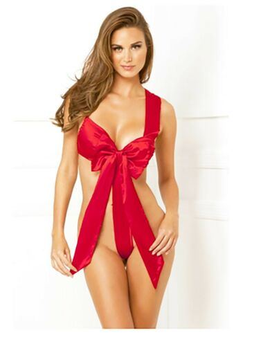 Details about  /Red Unwrap Me Satin Bow Teddy Lingerie for Holiday Party!