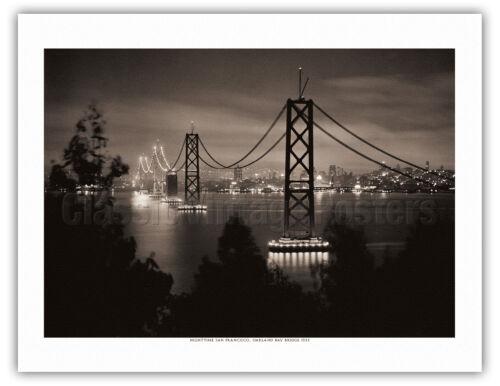 Nighttime San Francisco Bay Bridge 1935 B/&W Historical Photograph Art Print