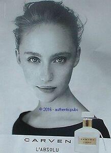 Publicite De French Parfum Carven Pour Femme Advert 2016 L'absolu Ad ZNwkn08OPX