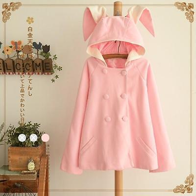 2016 Women Cute Rabbit  Ears Pink Jacket Coat  Casual Winter Outwear Students
