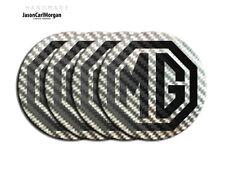 MG ZT Wheel Centre Cap Badges 80mm MG Logo Badge Black Carbon Silver Decal Set