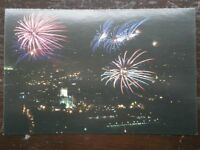 POSTCARD B29-32 SOMERSET FIREWORKS OVER BATH ABBEY