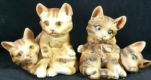 Cat Figurines Ardco Vintage Set 2 Kitty Kitten Porcelain Mini Glass Figures Lot