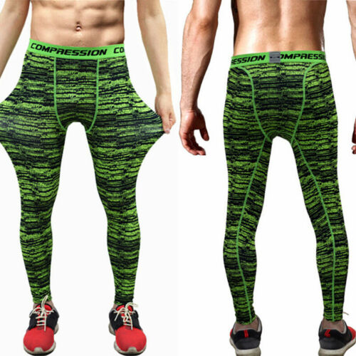 Mens Athletic Long Pants Gym Tights Soccer Running Jogging Compression Bottoms