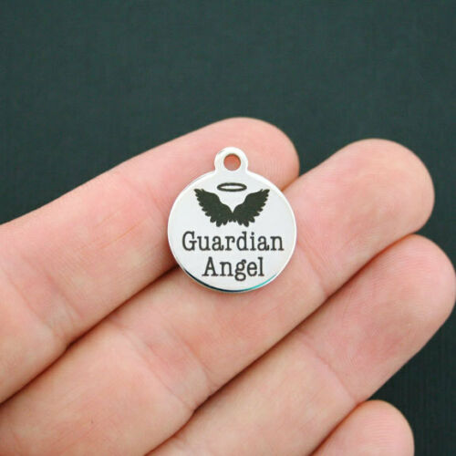 Quantity Options Guardian Angel Charm Polished Stainless Steel BFS146