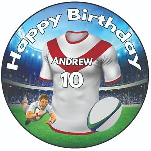 Personnalise-Anniversaire-Gateau-dessus-20-3cm-Glacage-Rugby-Chemise-St-Helens