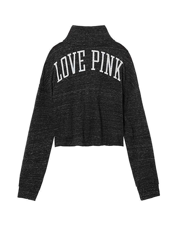 VICTORIA'S SECRET Pink NEW Cropped Varsity Quarter Snap Sweatshirt Marl XSmall