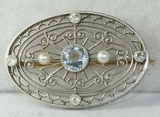 EDWARDIAN ANTIQUE PLATINUM DIAMOND NATURAL PEARL AQUAMARINE PIN PENDANT