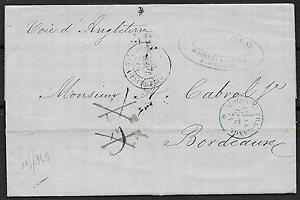 Guadeloupe covers 1874 folded letter POINTE A PITRE to Bordeaux
