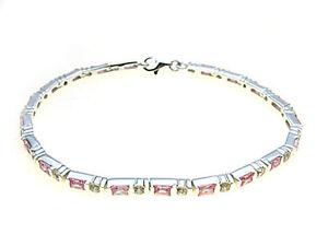 925-Sterling-Silver-line-Bracelet-set-with-sparkling-white-amp-Pink-stones