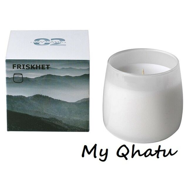 IKEA ASIA FRISKHET Scented Candle in Glass Mountain air Grey