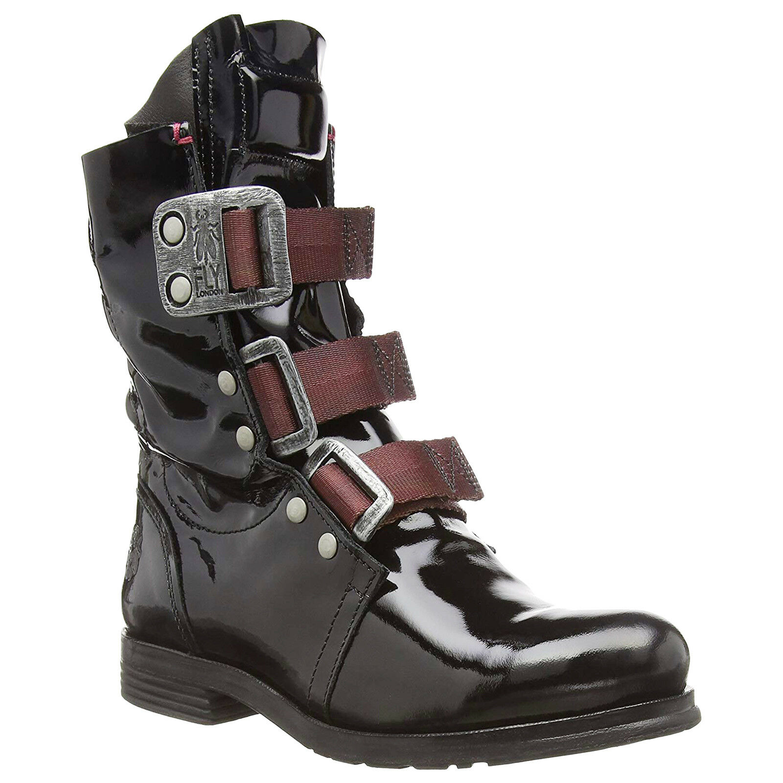 Fly London STIF Leather Buckle Motorbike Combat Womens Boots