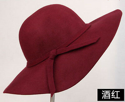 NEW LADIES WOMEN SOFT WOOL FELT FEDORA FLOPPY CLOCHE WIDE BRIM BOWKNOT HATS CAP