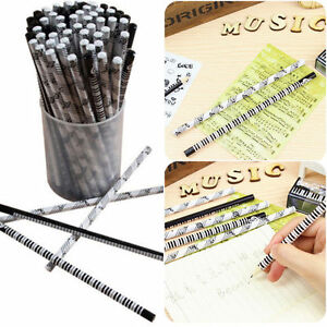 New lot 68pcs Wooden Pencils Music Note keyboard Lettering Sketching Drawing Pen