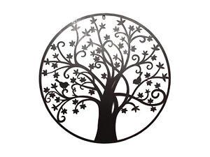 80cm-Round-Tree-of-Life-Wall-Art-Piece-Metal-Black