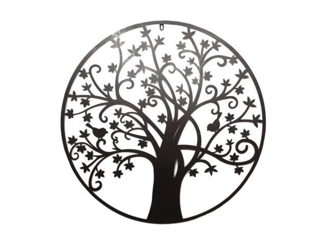 80cm Round Tree of Life Wall Art Piece Metal / Black