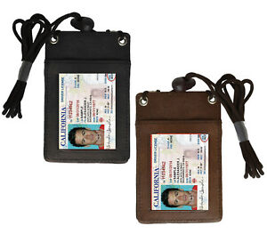 Genuine-Leather-ID-Badge-Holder-Neck-Strap-Travel-Lanyard-Cross-Body-Bag-Wallet