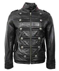 Men/'s HERITAGE MILITARY Black PARADE Style Real Hide Leather Jacket Coat 2212