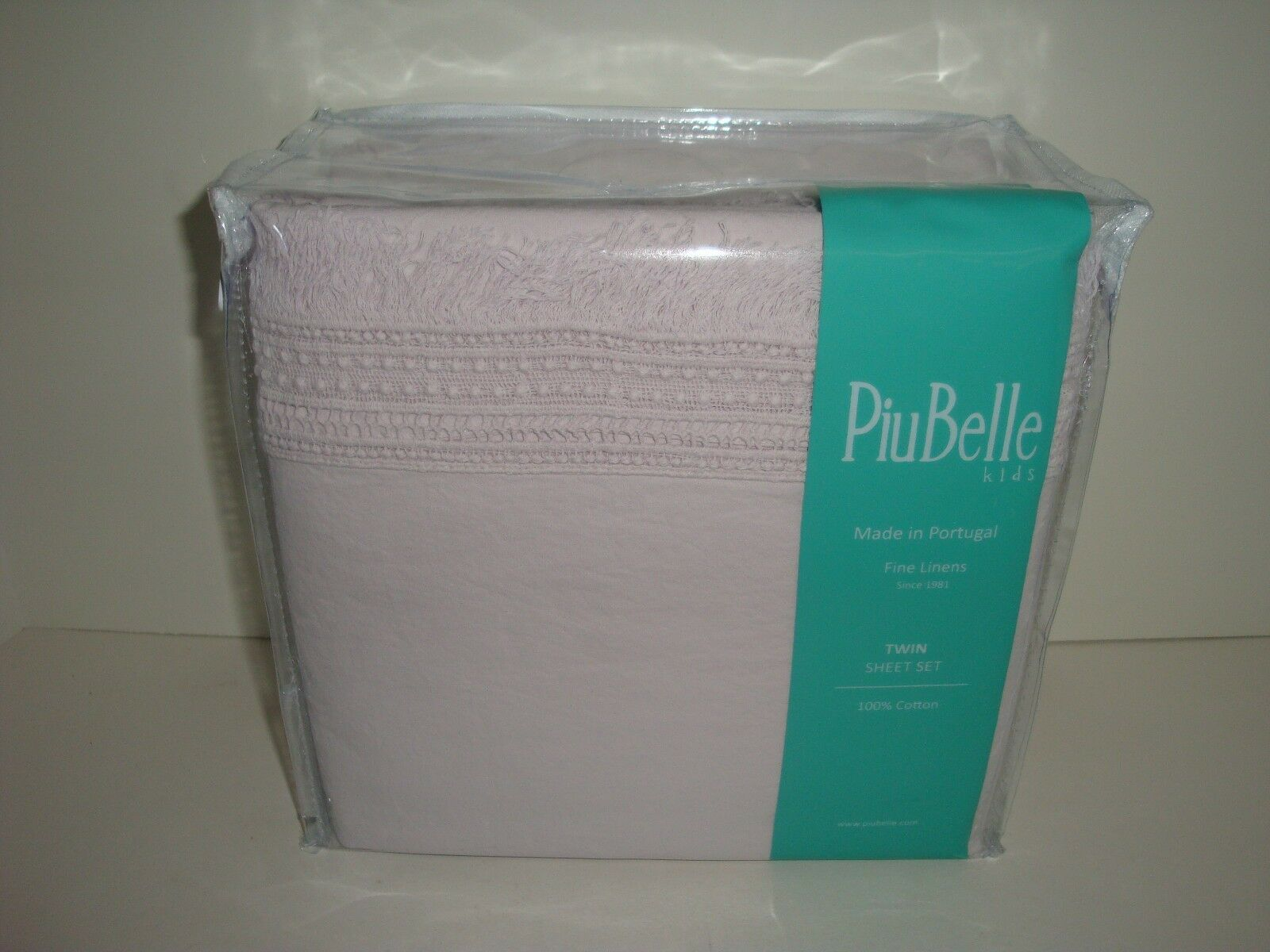 Piubelle Fringe Edge Twin Sheet Set NIP Pale Lavender Purple Cottage Piu Belle