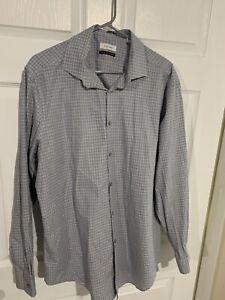 Calvin-Klein-Men-s-L-17-34-35-Shirt-Button-Down-Long-Sleeve-Plaid-Slim-Fit