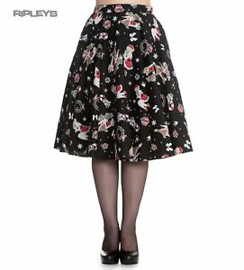 Hell Bunny Christmas Noel PinUp Rockabilly 50s Skirt BLITZEN Black XS 8 LAST ONE