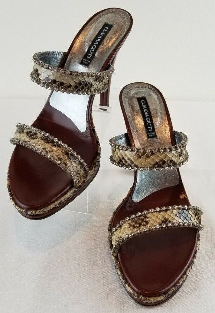 Claudia Ciuti Snake Skin Nordstrom Womens Size 9.5 Leather Heels shoes  EUC