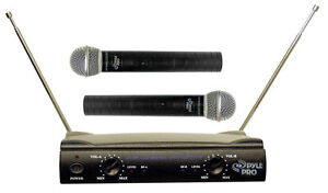 PYLE DJ PRO 2 MICs KARAOKE 2 CH VHF DUAL CORDLESS WIRELESS MICROPHONE SYSTEM NEW