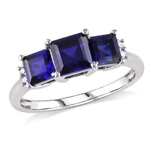 10k White Gold Diamond And 2 1//5 CT TGW Blue Sapphire 3-stone Ring GH I2-I3