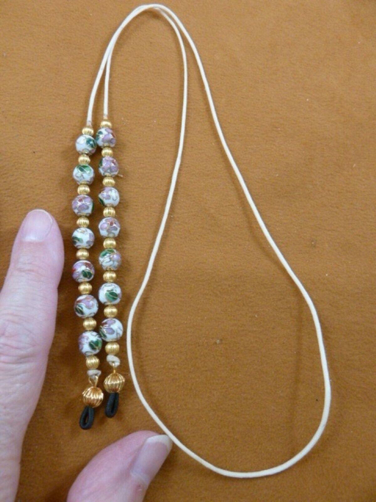 ( E-49A) White flower gold Cloisonne Eyeglass leash holder chain lanyard beaded