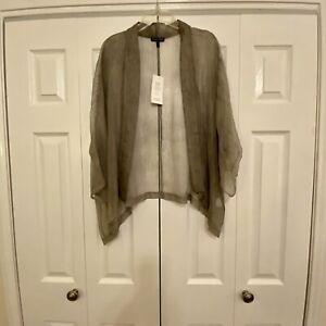 Eileen-Fisher-Sheer-Silk-Crinkle-Chiffon-Kimono-Jacket-Cardigan-Small-New