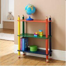 NUOVO colore per bambini 3-Tier Matita BOOK CASE SCAFFALI LEGNO MASSELLO PER kidsgames, DVD