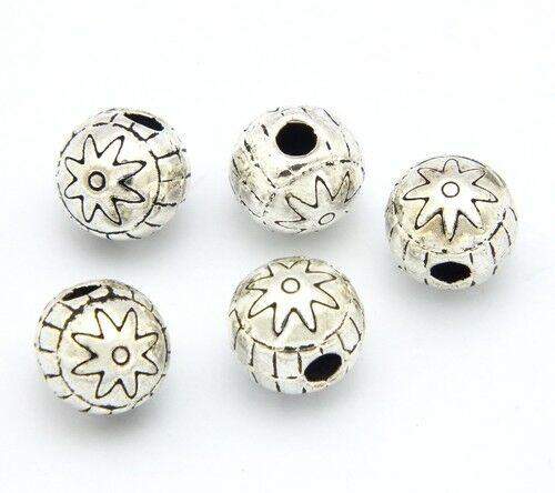 5 Sternchenperlen ca 8 x 9mm silberfarben