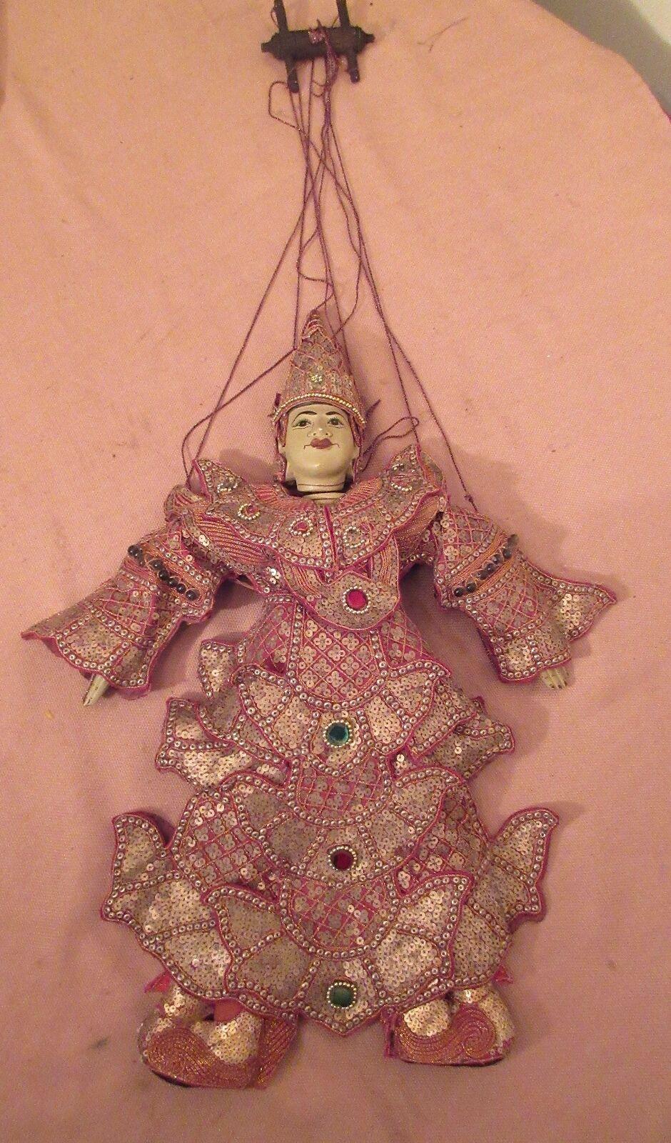 大ヴィンテージハンド彫刻されたビルマアジアの操り人形は、彫刻彫刻ビーズ