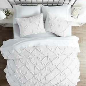 Pintuck-Bedding-Set-100-Egyptian-Cotton-Grey-White-Duvet-Cover-Double-Super-King