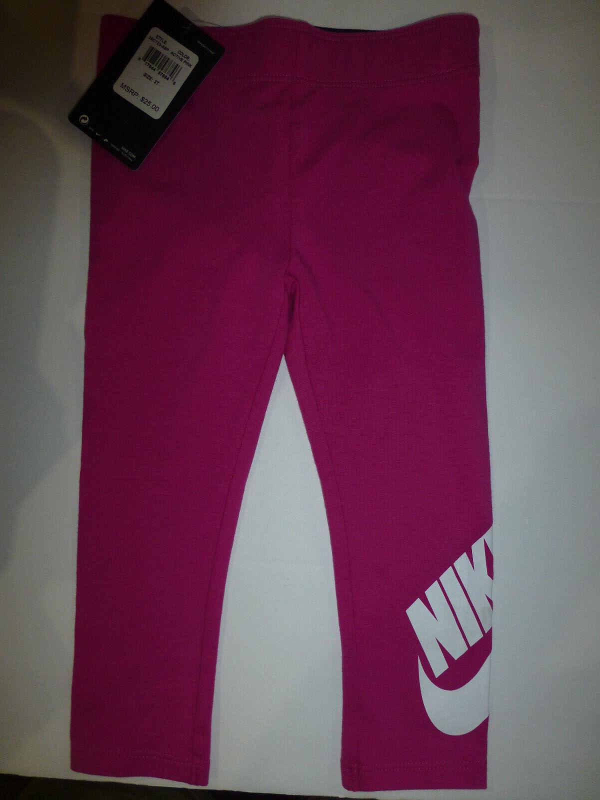 Nike Little Girls Active Pink Elastic Waist Leggings Pants 26C723 New 3T  for sale online