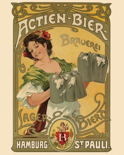 Beer Hamburg Germany German Lager Bar Actien Bier 16X20 Vintage Poster FREE S//H