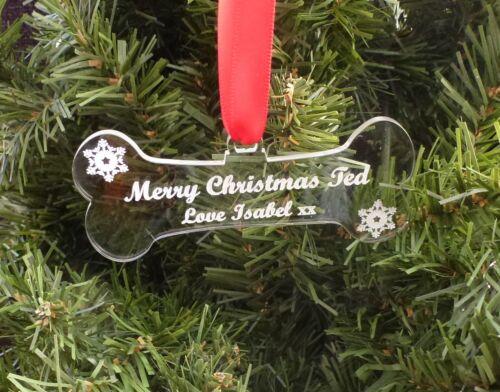 Bauble Acrylic DOG BONE Personalised pet Tree Decoration First Christmas Gift