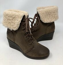 7e8f08de7d3 UGG Australia Black Zea Shearling Wedge Lace up BOOTS Ankle BOOTIES ...
