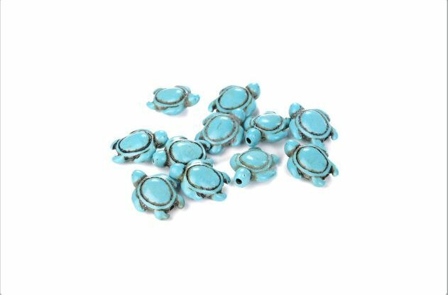 New Howlite Turquoise Carved Turtle Spacer Beads 14mm x 17mm 16'' A Strand UPick