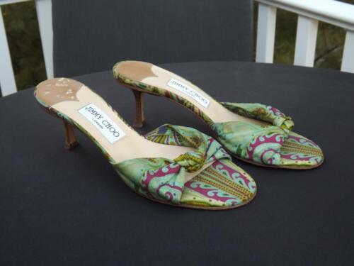 Jimmy Choo Green Slides Open Toe Kitten Heel Size 8 38.5 EUR