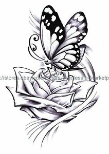 Rose Butterfly 8 25 Amp Amp Amp Amp Quot Large Arm Temporary Bracelet Tattoos Ebay