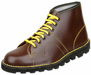 Mens-New-Lace-Up-Wine-Leather-Original-Monkey-Ankle-Boots-Size-6-7-8-9-10-11-12