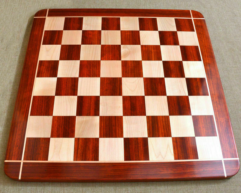 21  Wooden Chess Board Padauk & Maple w  2.2  Sq Hand Carved with cross pattern