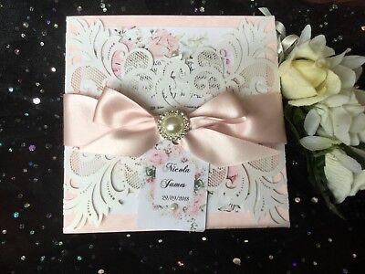 . Vinetage, Rustico, Boho Laser Cut Blush Rosa Scuro Nastro Matrimonio Invito-