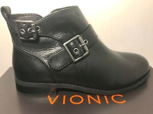 VIONIC-Country-Logan-Ankle-Boots-Women-039-s-7-M-Black-Leather-Zip-Booties-160