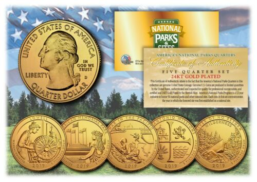 2019 24K Gold National Parks America the Beautiful Coins *Set of all 5 Quarters*